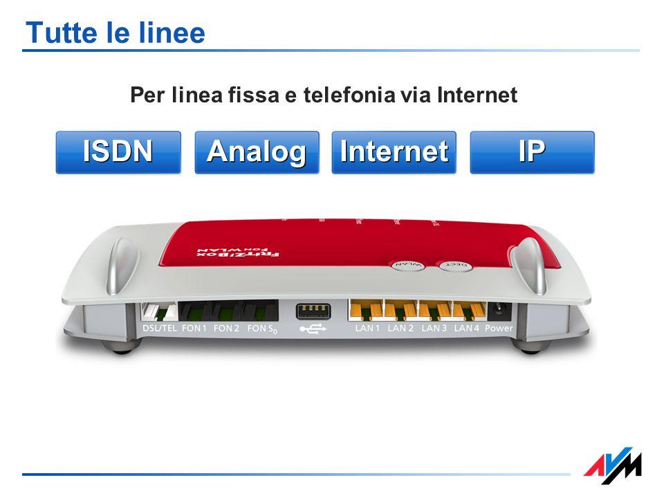 Tutte le linee Per linea fissa e telefonia via Internet Analog Internet IP ISDN