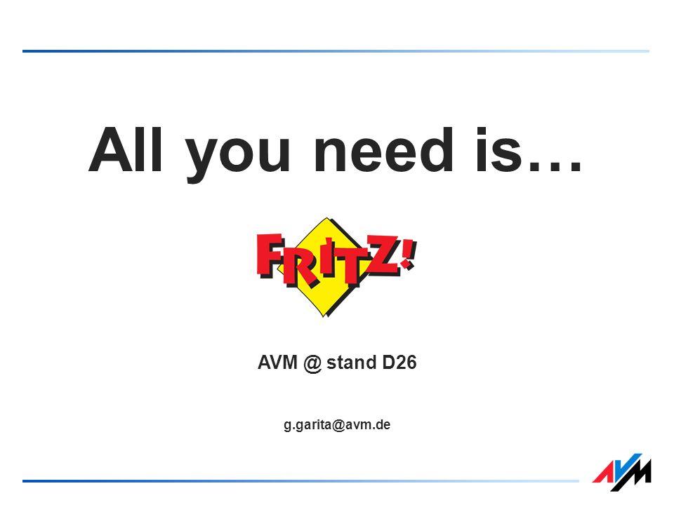 All you need is… AVM @ stand D26 g.garita@avm.de