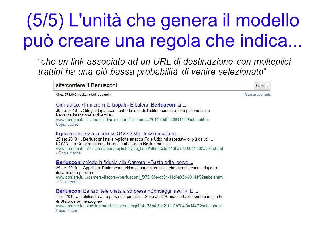 (5/5) L'unità che genera il modello può creare una regola che indica... che un link associato ad un URL di destinazione con molteplici trattini ha una
