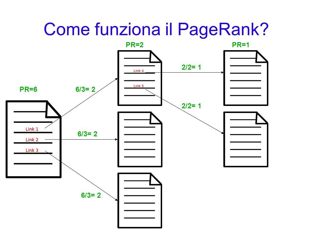 Come funziona il PageRank? PR=6 PR=2 6/3= 2 PR=1 2/2= 1