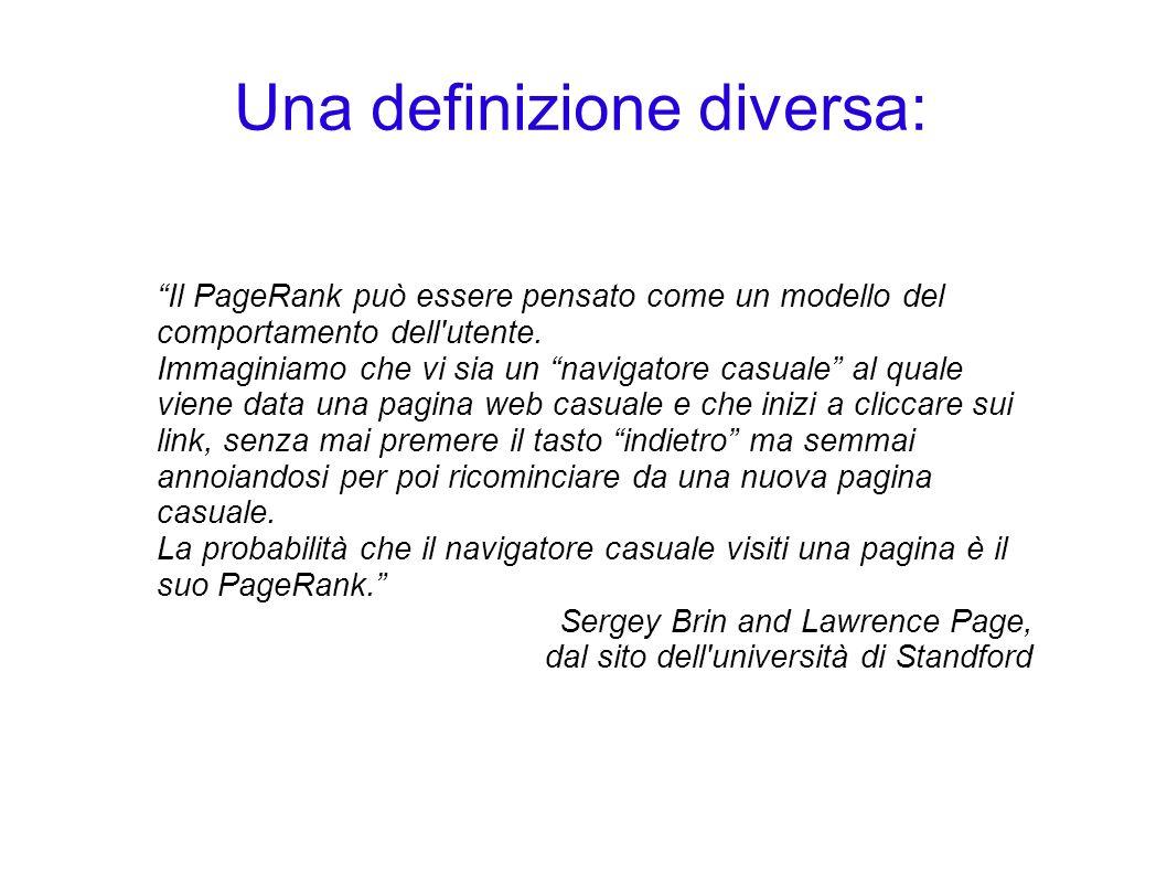 Una definizione diversa: Il PageRank può essere pensato come un modello del comportamento dell'utente. Immaginiamo che vi sia un navigatore casuale al