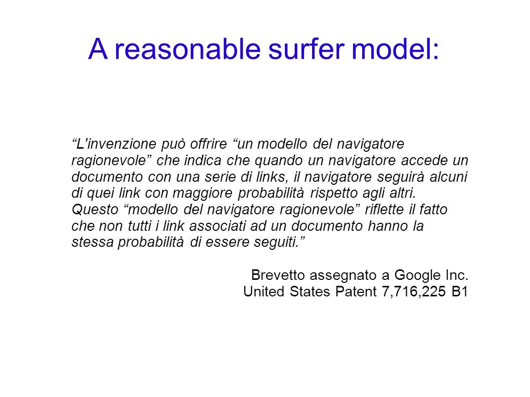 A reasonable surfer model: L'invenzione può offrire un modello del navigatore ragionevole che indica che quando un navigatore accede un documento con