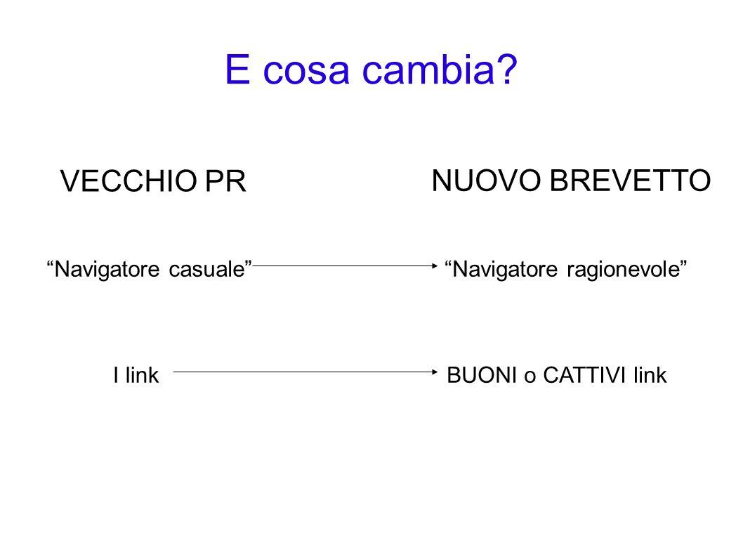 E cosa cambia? VECCHIO PR NUOVO BREVETTO Navigatore casualeNavigatore ragionevole I linkBUONI o CATTIVI link