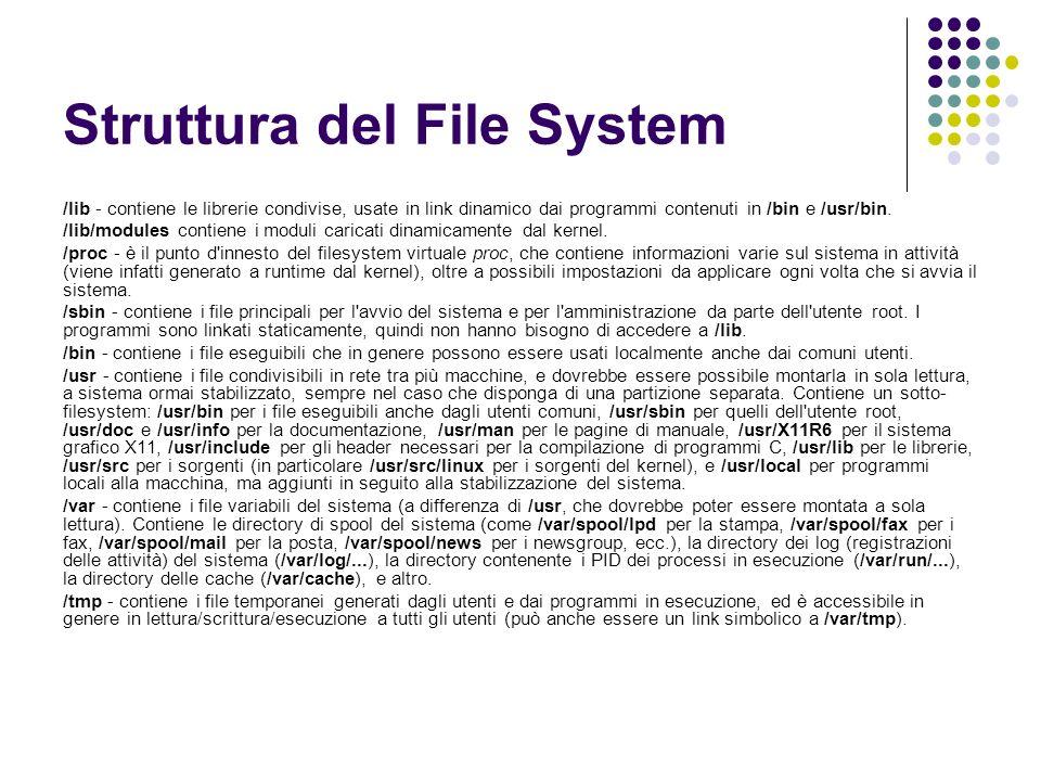 Struttura del File System /lib - contiene le librerie condivise, usate in link dinamico dai programmi contenuti in /bin e /usr/bin. /lib/modules conti