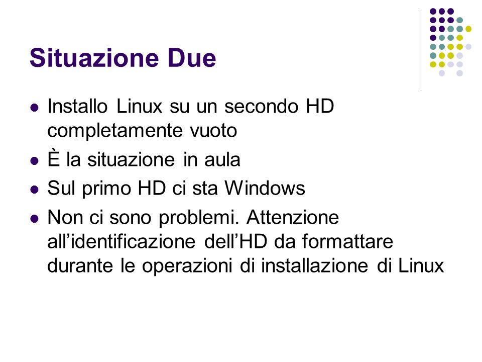 Situazione Due Installo Linux su un secondo HD completamente vuoto È la situazione in aula Sul primo HD ci sta Windows Non ci sono problemi. Attenzion