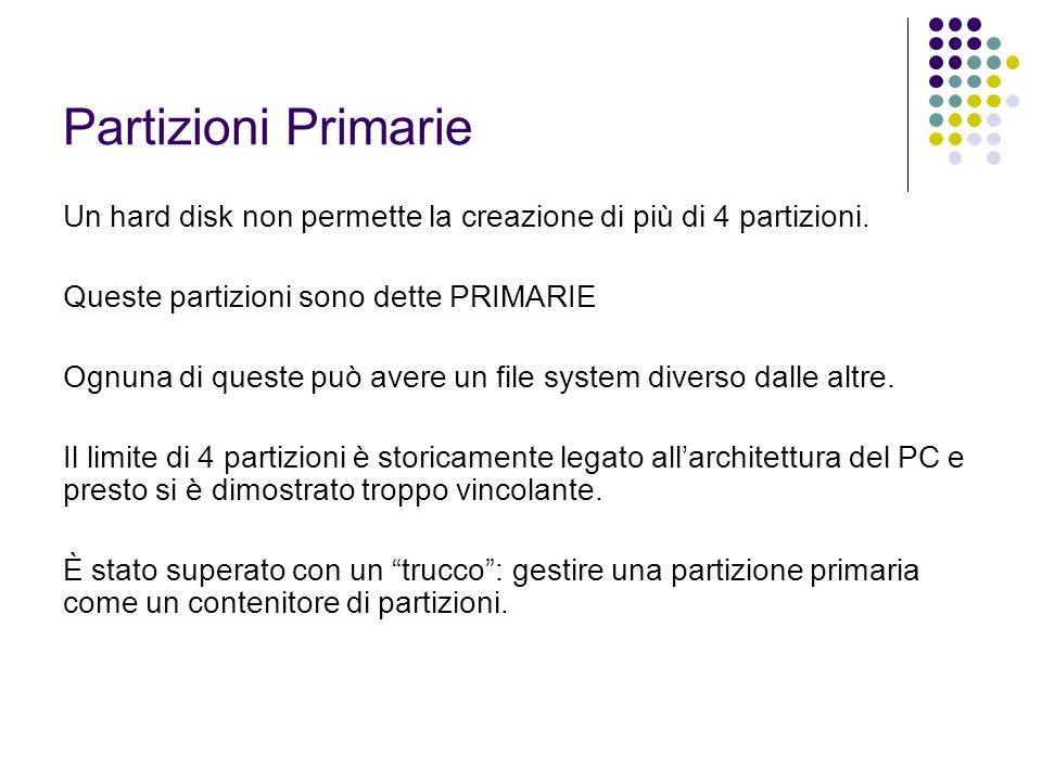 Partizioni Primarie Un hard disk non permette la creazione di più di 4 partizioni. Queste partizioni sono dette PRIMARIE Ognuna di queste può avere un