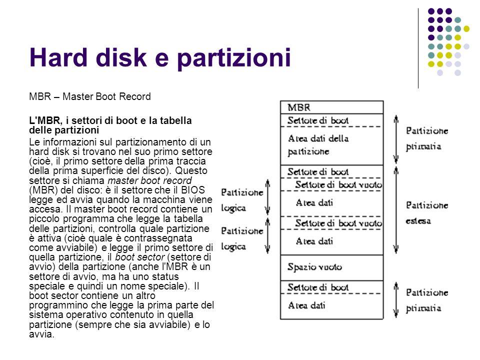 MBR – Master Boot Record L'MBR, i settori di boot e la tabella delle partizioni Le informazioni sul partizionamento di un hard disk si trovano nel suo