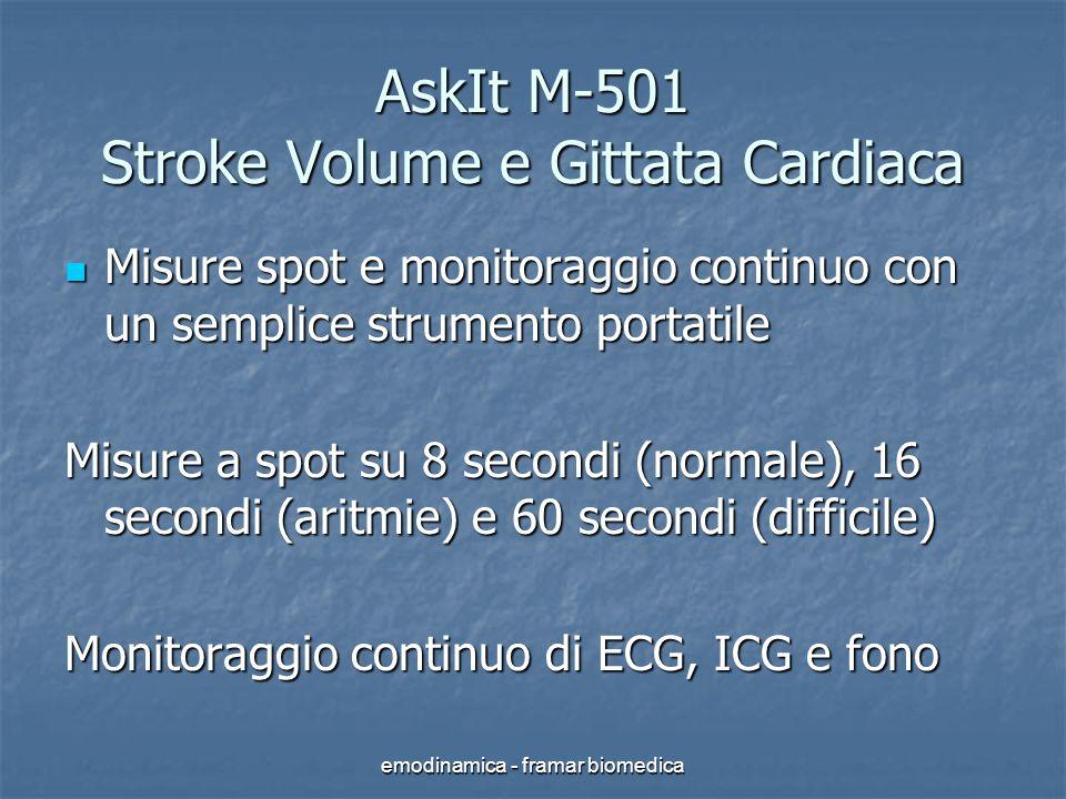 emodinamica - framar biomedica Un piccolo strumento portatile per avere dati diagnostici rilevanti in modo non cruento ed economico, con misure a spot, in continuo e in trend Stroke Volume (SV) e Gittata Cardiaca (CO) Stroke Volume (SV) e Gittata Cardiaca (CO)
