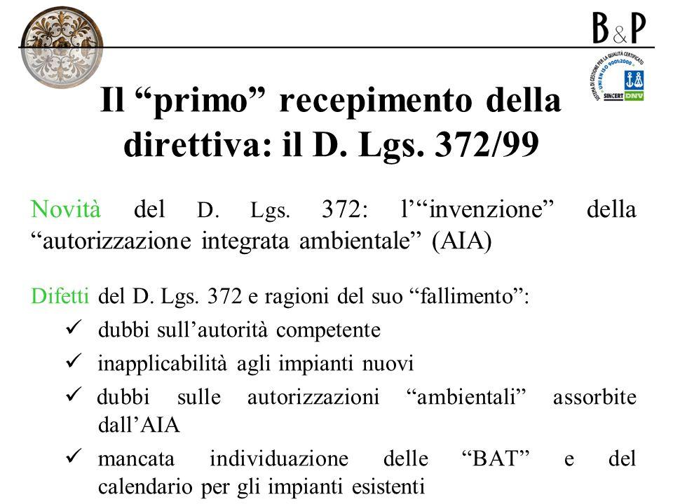 Il primo recepimento della direttiva: il D. Lgs. 372/99 Novità del D. Lgs. 372: linvenzione della autorizzazione integrata ambientale (AIA) Difetti de