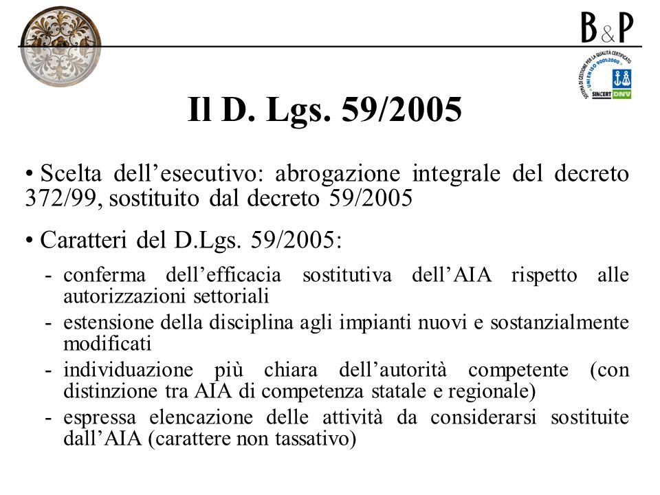 Il D. Lgs. 59/2005 Scelta dellesecutivo: abrogazione integrale del decreto 372/99, sostituito dal decreto 59/2005 Caratteri del D.Lgs. 59/2005: -confe