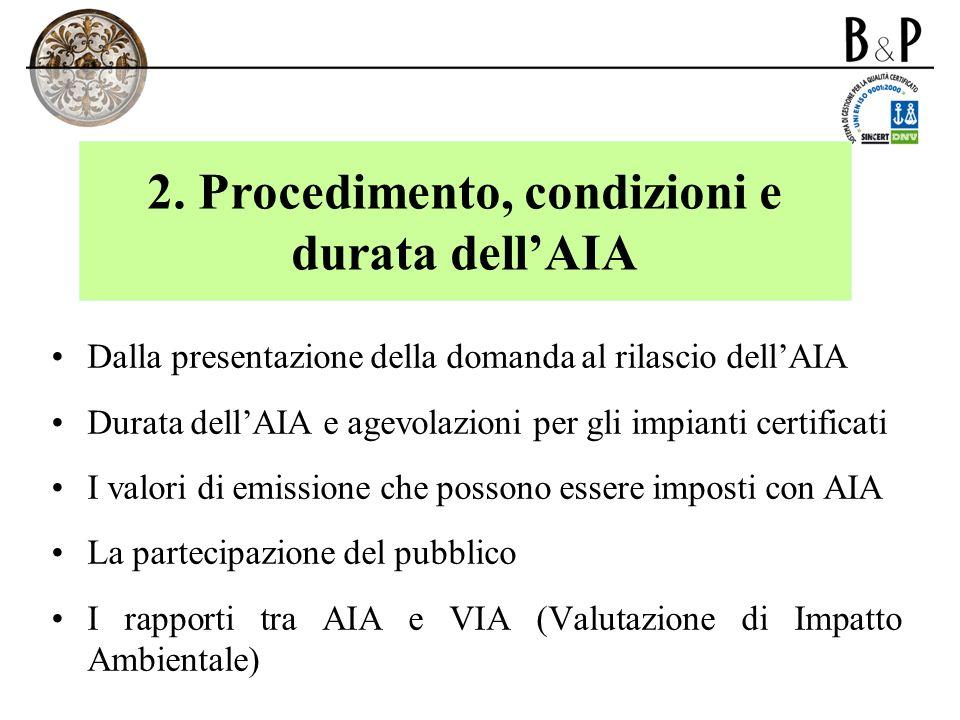 2. Procedimento, condizioni e durata dellAIA Dalla presentazione della domanda al rilascio dellAIA Durata dellAIA e agevolazioni per gli impianti cert