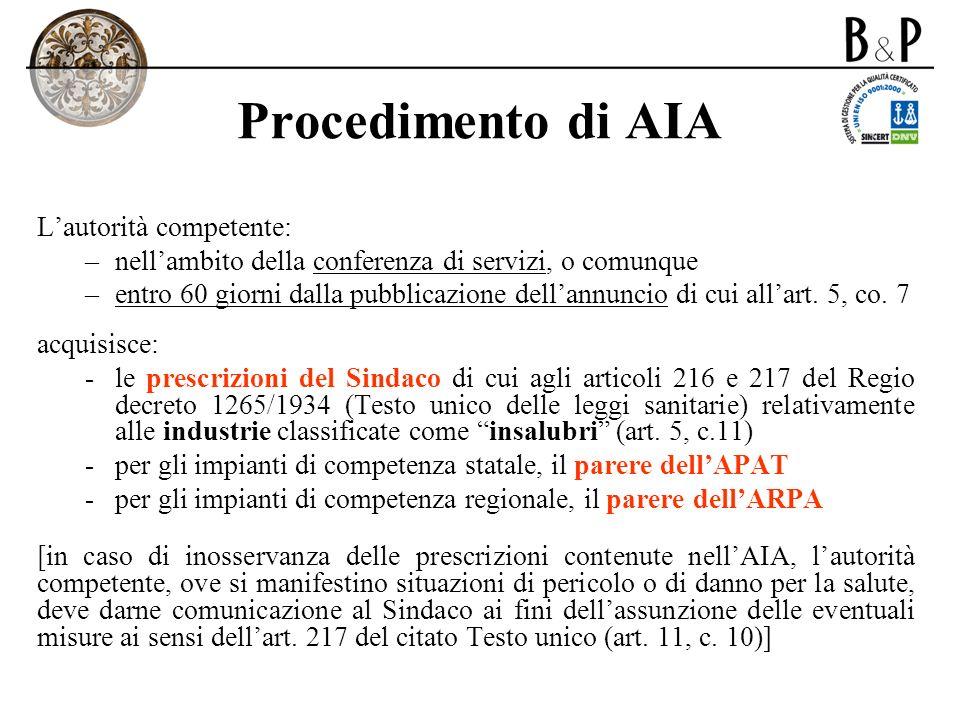 Procedimento di AIA Lautorità competente: –nellambito della conferenza di servizi, o comunque –entro 60 giorni dalla pubblicazione dellannuncio di cui