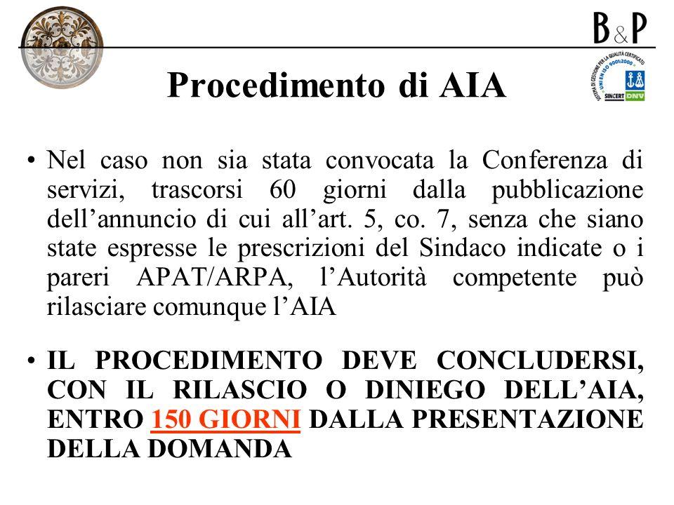 Procedimento di AIA Nel caso non sia stata convocata la Conferenza di servizi, trascorsi 60 giorni dalla pubblicazione dellannuncio di cui allart. 5,