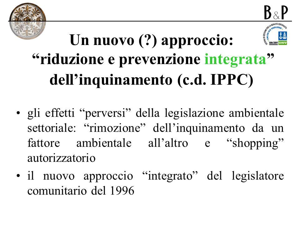 Un nuovo (?) approccio: riduzione e prevenzione integrata dellinquinamento (c.d. IPPC) gli effetti perversi della legislazione ambientale settoriale: