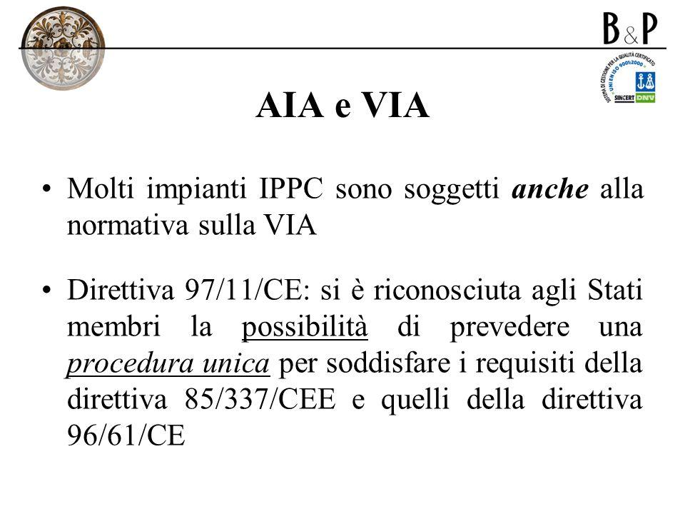 AIA e VIA Molti impianti IPPC sono soggetti anche alla normativa sulla VIA Direttiva 97/11/CE: si è riconosciuta agli Stati membri la possibilità di p