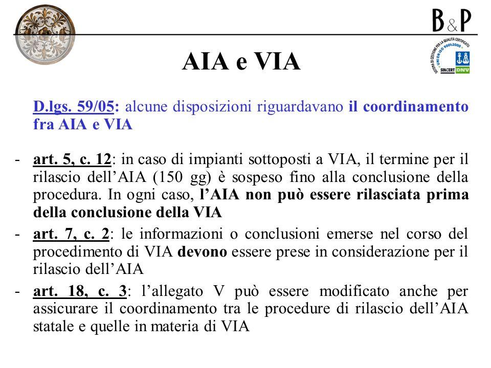 AIA e VIA D.lgs. 59/05: alcune disposizioni riguardavano il coordinamento fra AIA e VIA -art. 5, c. 12: in caso di impianti sottoposti a VIA, il termi