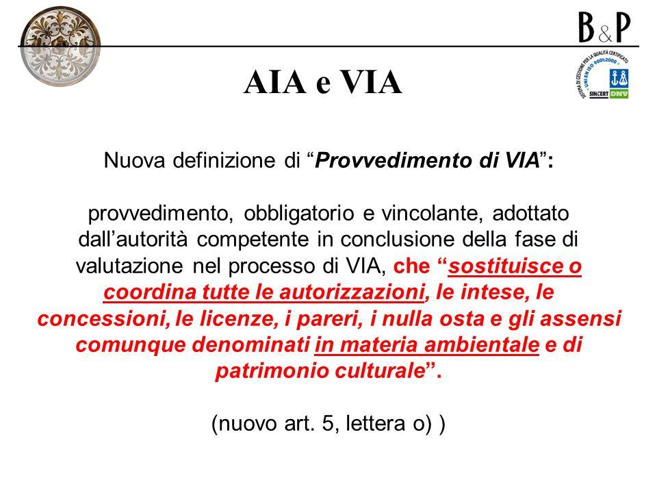 AIA e VIA Nuova definizione di Provvedimento di VIA: provvedimento, obbligatorio e vincolante, adottato dallautorità competente in conclusione della f