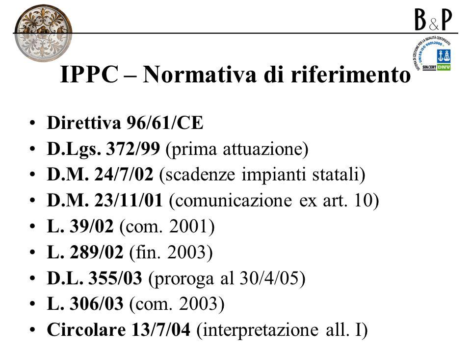 IPPC – Normativa di riferimento Direttiva 96/61/CE D.Lgs. 372/99 (prima attuazione) D.M. 24/7/02 (scadenze impianti statali) D.M. 23/11/01 (comunicazi