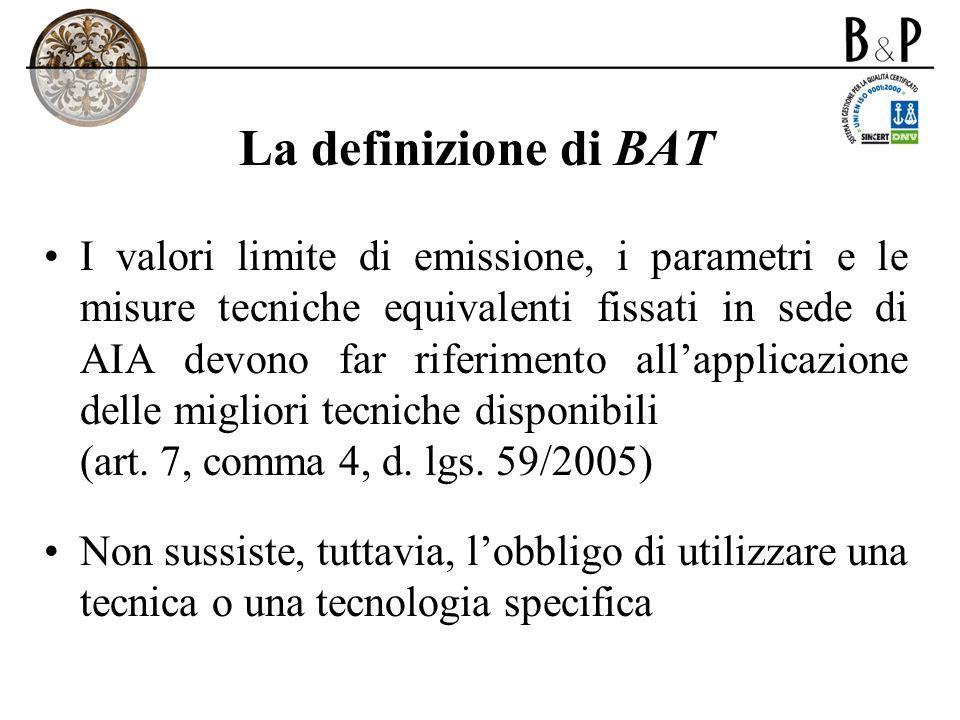 La definizione di BAT I valori limite di emissione, i parametri e le misure tecniche equivalenti fissati in sede di AIA devono far riferimento allappl