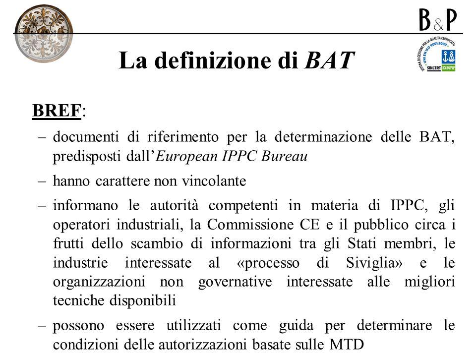La definizione di BAT BREF: –documenti di riferimento per la determinazione delle BAT, predisposti dallEuropean IPPC Bureau –hanno carattere non vinco