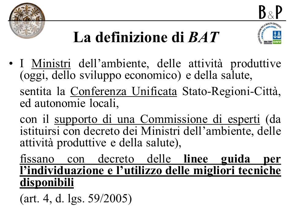 La definizione di BAT I Ministri dellambiente, delle attività produttive (oggi, dello sviluppo economico) e della salute, sentita la Conferenza Unific