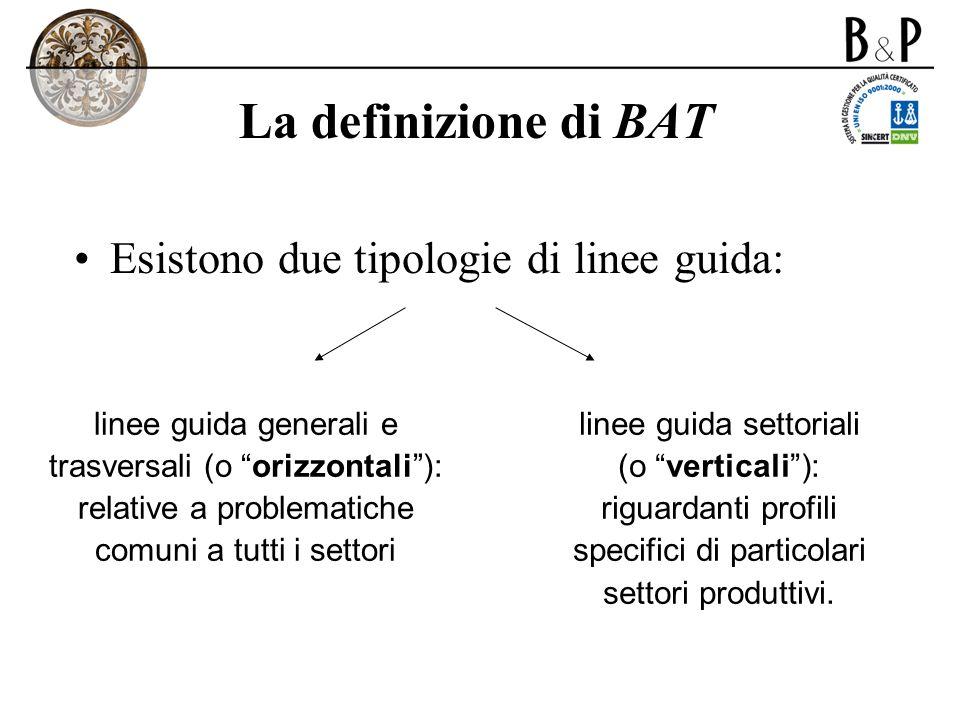 La definizione di BAT Esistono due tipologie di linee guida: linee guida generali e trasversali (o orizzontali): relative a problematiche comuni a tut