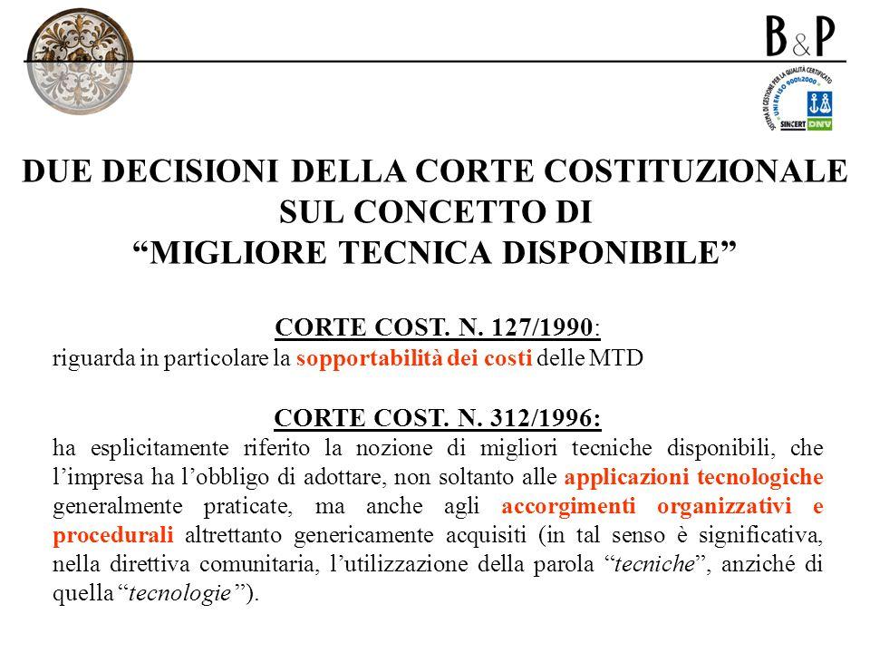 DUE DECISIONI DELLA CORTE COSTITUZIONALE SUL CONCETTO DI MIGLIORE TECNICA DISPONIBILE CORTE COST. N. 127/1990: riguarda in particolare la sopportabili