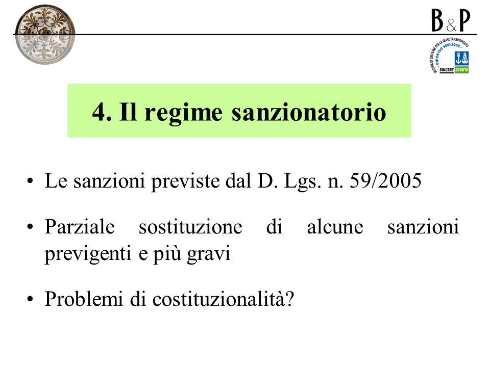 4. Il regime sanzionatorio Le sanzioni previste dal D. Lgs. n. 59/2005 Parziale sostituzione di alcune sanzioni previgenti e più gravi Problemi di cos