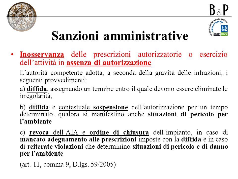 Sanzioni amministrative Inosservanza delle prescrizioni autorizzatorie o esercizio dellattività in assenza di autorizzazione Lautorità competente adot