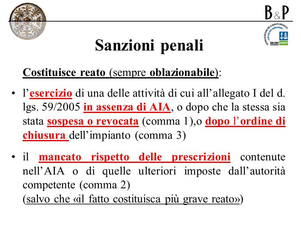 Sanzioni penali Costituisce reato (sempre oblazionabile): lesercizio di una delle attività di cui allallegato I del d. lgs. 59/2005 in assenza di AIA,