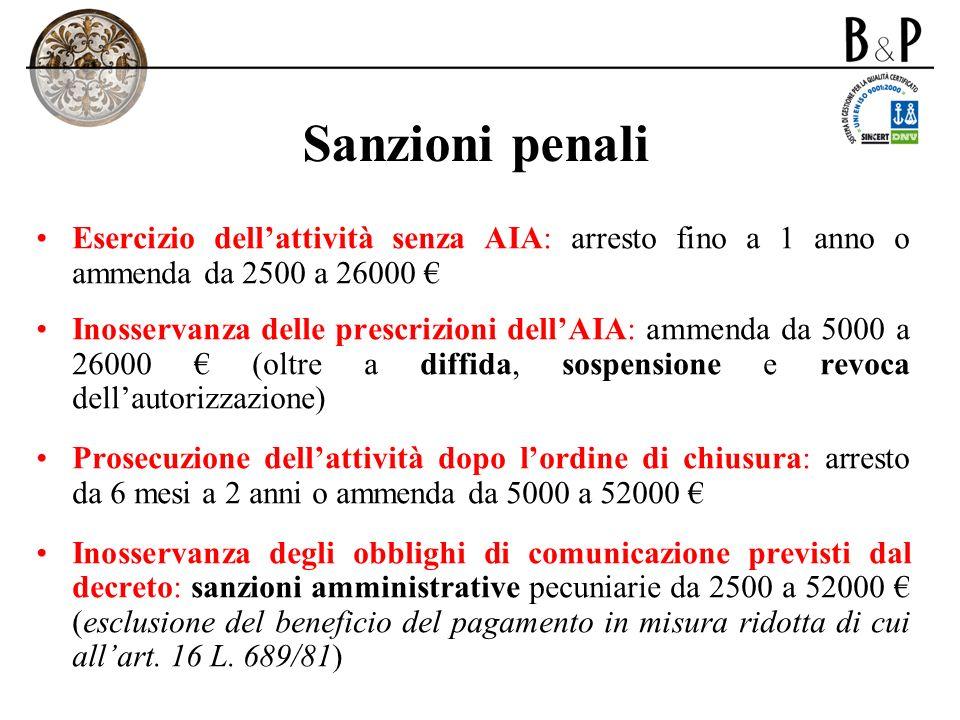 Sanzioni penali Esercizio dellattività senza AIA: arresto fino a 1 anno o ammenda da 2500 a 26000 Inosservanza delle prescrizioni dellAIA: ammenda da