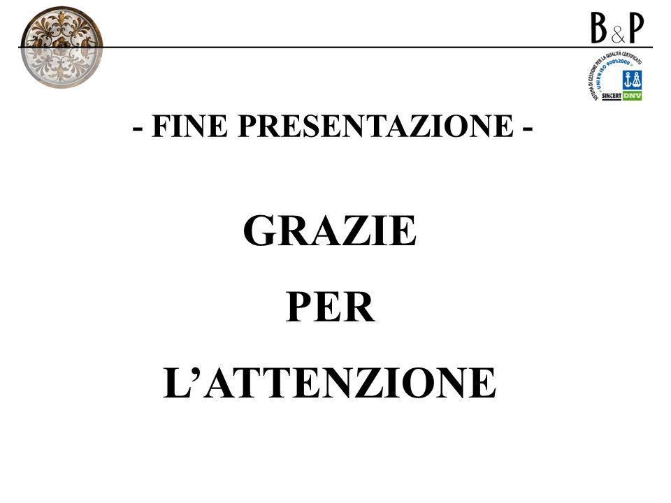 - FINE PRESENTAZIONE - GRAZIE PER LATTENZIONE