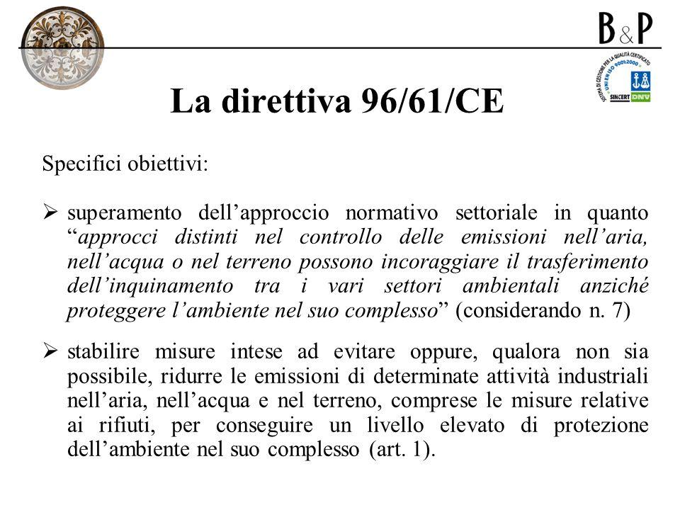 La direttiva 96/61/CE Specifici obiettivi: superamento dellapproccio normativo settoriale in quantoapprocci distinti nel controllo delle emissioni nel