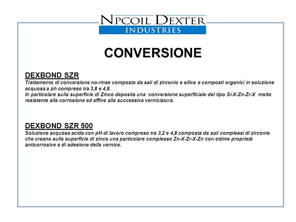 CONVERSIONE DEXBOND SZR Trattamento di conversione no-rinse composto da sali di zirconio e silice e composti organici in soluzione acquosa a ph compre