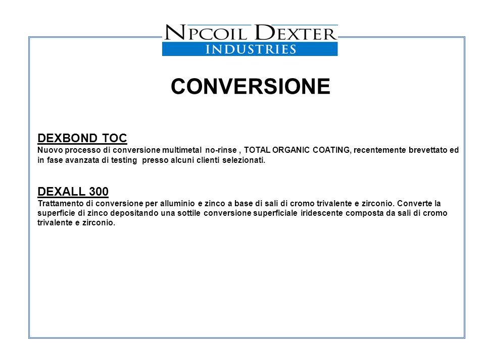 DEXBOND TOC Nuovo processo di conversione multimetal no-rinse, TOTAL ORGANIC COATING, recentemente brevettato ed in fase avanzata di testing presso al
