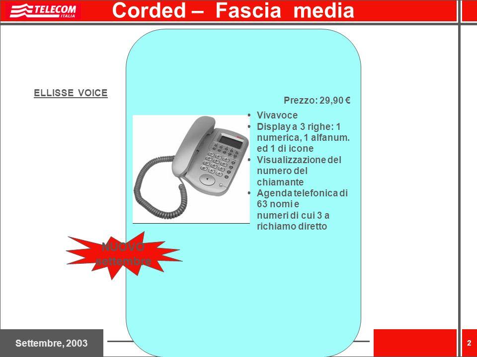 Settembre, 2003 2 Corded – Fascia media ELLISSE VOICE Prezzo: 29,90 Vivavoce Display a 3 righe: 1 numerica, 1 alfanum. ed 1 di icone Visualizzazione d