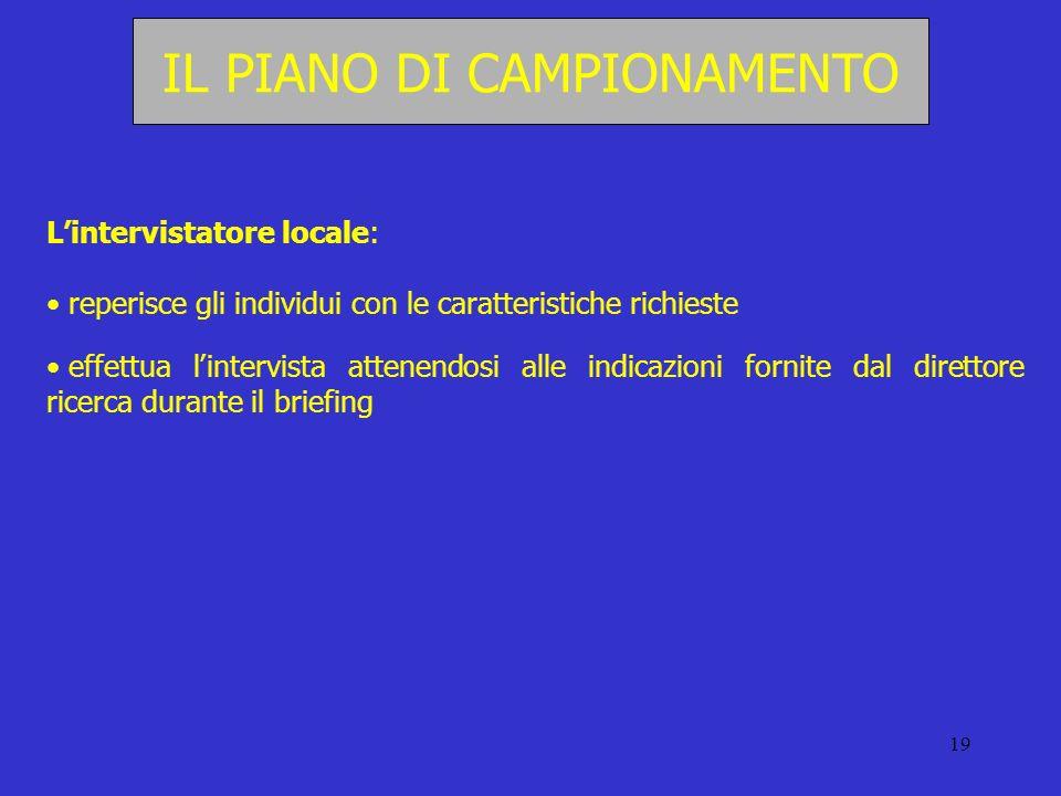 19 IL PIANO DI CAMPIONAMENTO Lintervistatore locale: reperisce gli individui con le caratteristiche richieste effettua lintervista attenendosi alle in