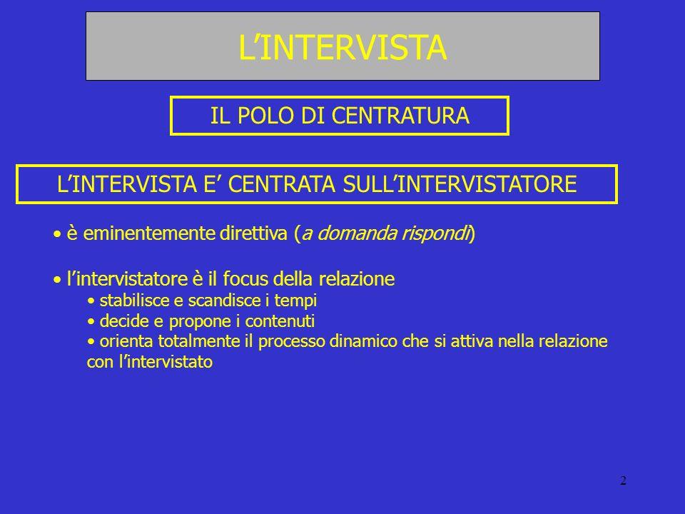 2 LINTERVISTA E CENTRATA SULLINTERVISTATORE è eminentemente direttiva (a domanda rispondi) lintervistatore è il focus della relazione stabilisce e sca