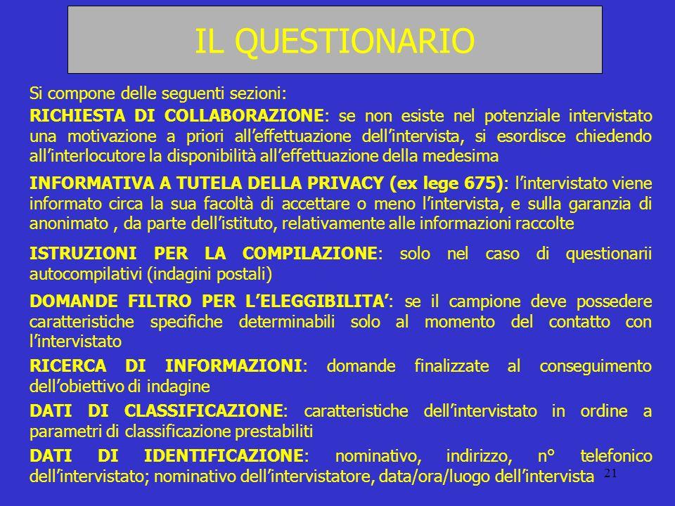 21 IL QUESTIONARIO Si compone delle seguenti sezioni: RICHIESTA DI COLLABORAZIONE: se non esiste nel potenziale intervistato una motivazione a priori