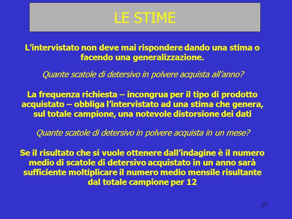29 LE STIME Lintervistato non deve mai rispondere dando una stima o facendo una generalizzazione. Quante scatole di detersivo in polvere acquista alla
