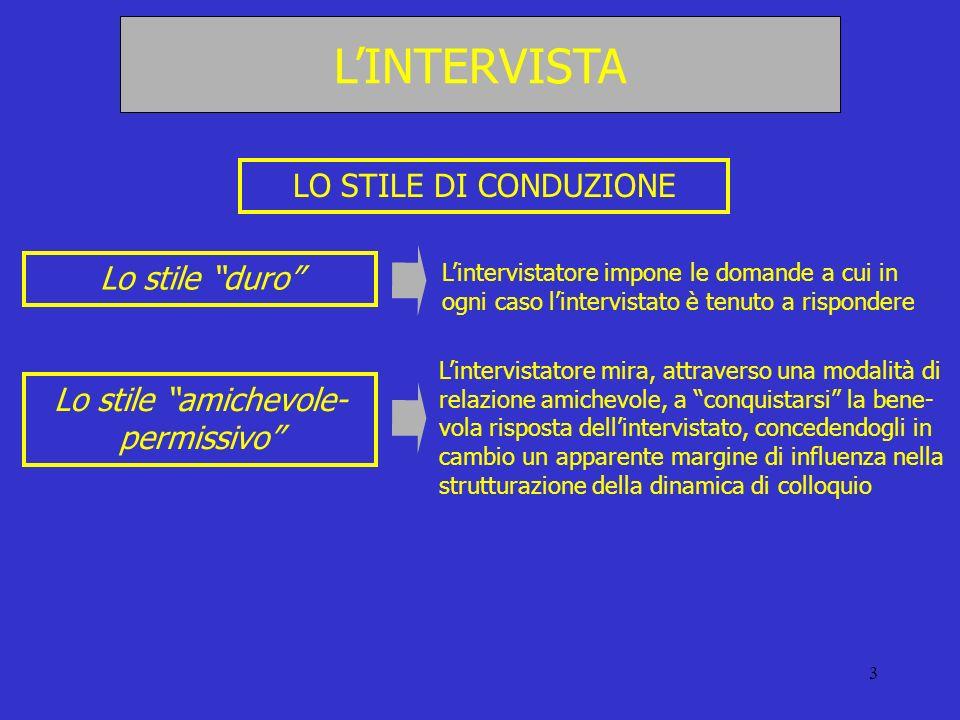 3 LO STILE DI CONDUZIONE Lo stile duro Lintervistatore impone le domande a cui in ogni caso lintervistato è tenuto a rispondere Lo stile amichevole- p