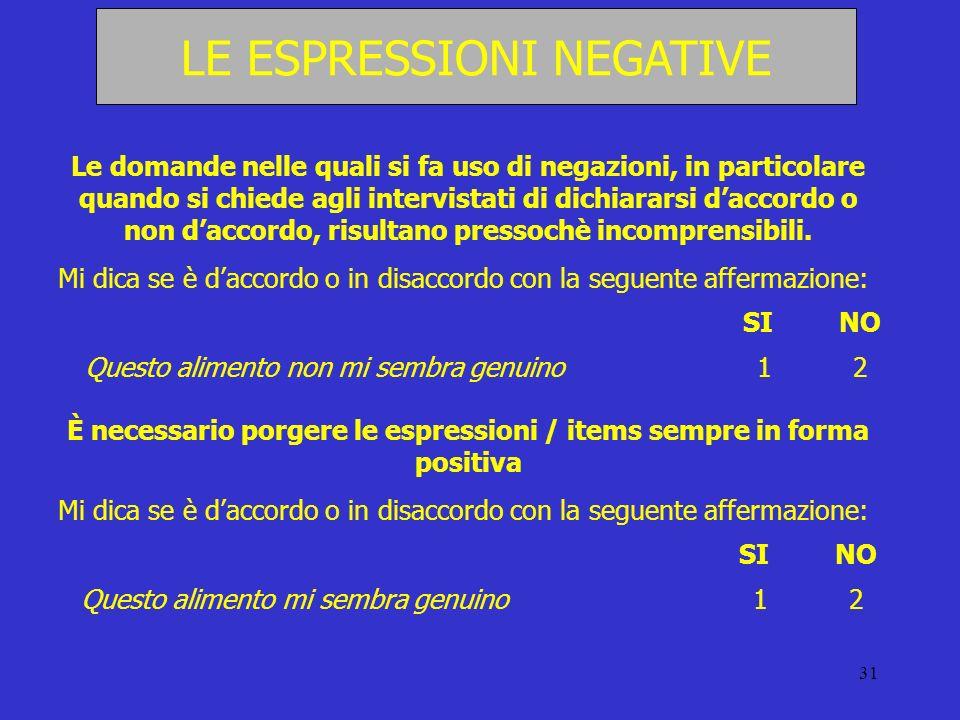 31 LE ESPRESSIONI NEGATIVE Le domande nelle quali si fa uso di negazioni, in particolare quando si chiede agli intervistati di dichiararsi daccordo o