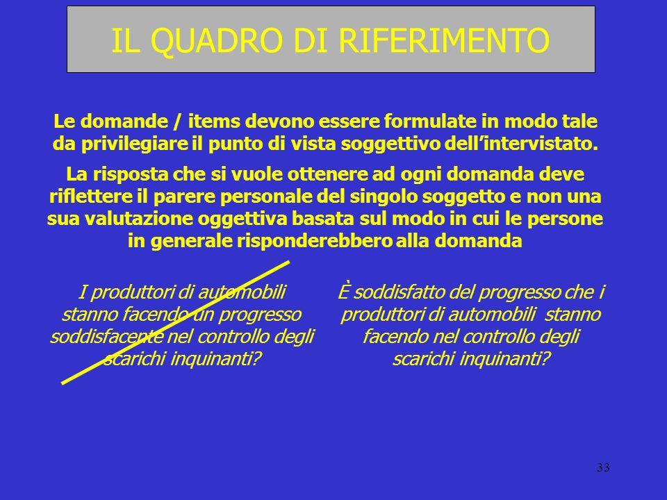 33 IL QUADRO DI RIFERIMENTO Le domande / items devono essere formulate in modo tale da privilegiare il punto di vista soggettivo dellintervistato. La