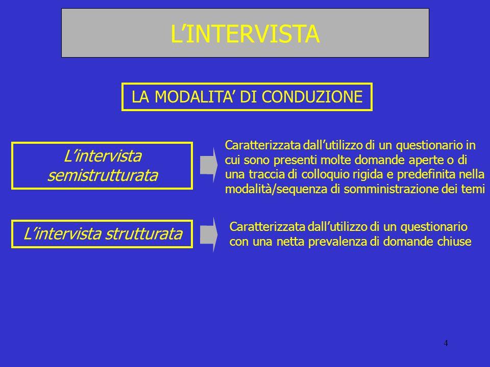 4 LA MODALITA DI CONDUZIONE Lintervista semistrutturata Lintervista strutturata Caratterizzata dallutilizzo di un questionario in cui sono presenti mo