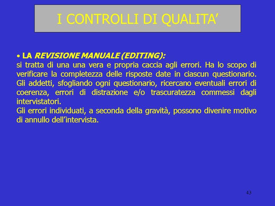 43 I CONTROLLI DI QUALITA LA REVISIONE MANUALE (EDITING): si tratta di una una vera e propria caccia agli errori. Ha lo scopo di verificare la complet