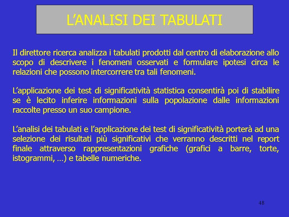 48 LANALISI DEI TABULATI Il direttore ricerca analizza i tabulati prodotti dal centro di elaborazione allo scopo di descrivere i fenomeni osservati e