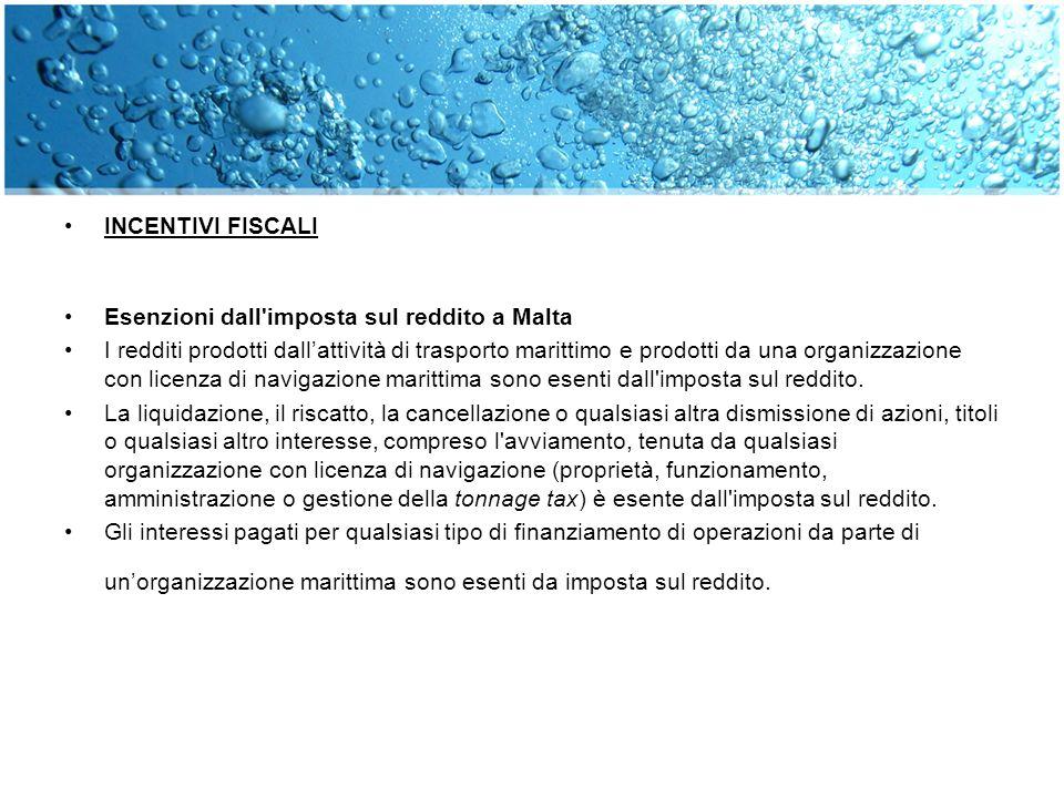 INCENTIVI FISCALI Esenzioni dall'imposta sul reddito a Malta I redditi prodotti dallattività di trasporto marittimo e prodotti da una organizzazione c