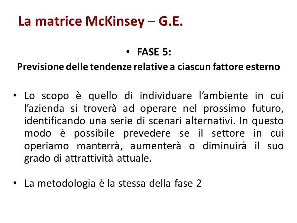 La matrice McKinsey – G.E. FASE 5: Previsione delle tendenze relative a ciascun fattore esterno Lo scopo è quello di individuare lambiente in cui lazi