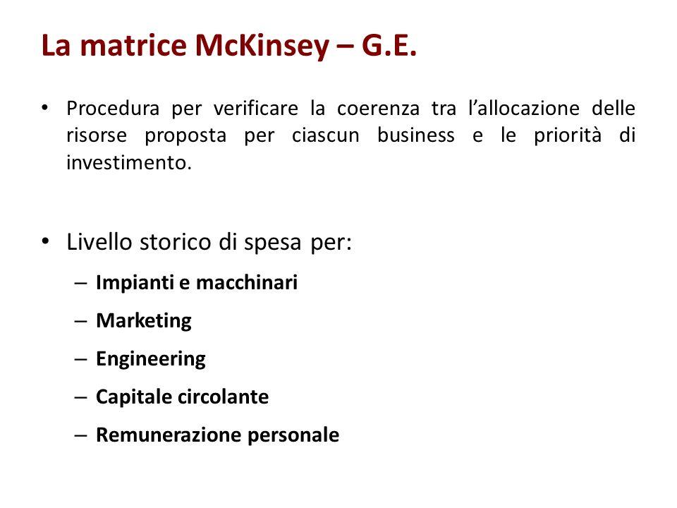 La matrice McKinsey – G.E. Procedura per verificare la coerenza tra lallocazione delle risorse proposta per ciascun business e le priorità di investim
