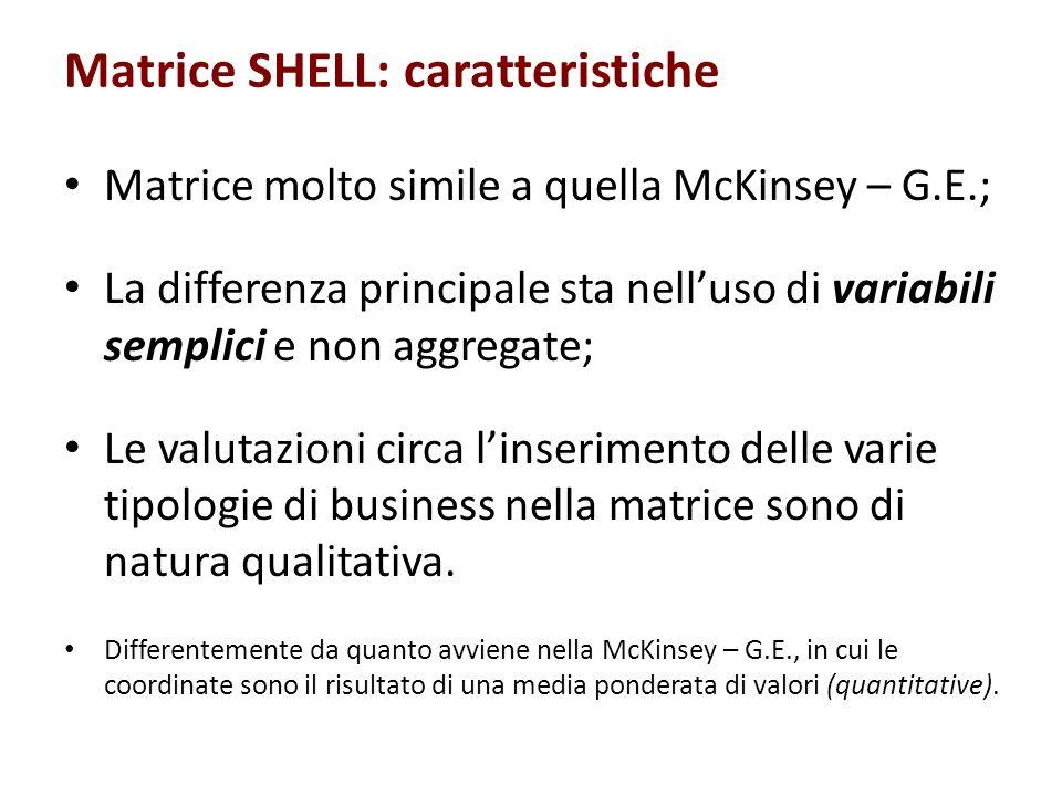 Matrice SHELL: caratteristiche Matrice molto simile a quella McKinsey – G.E.; La differenza principale sta nelluso di variabili semplici e non aggrega